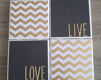 Ceramic tile coaster set black and gold