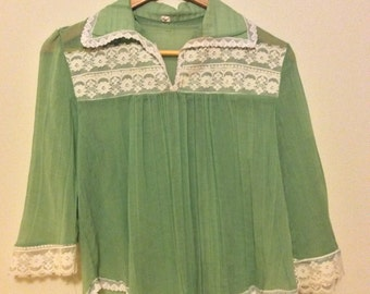 1970's Sheer Kelly Green Lace-trim Blouse