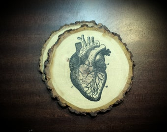 Anatomical Heart Natural Wood Handcrafted Coaster Set of 2