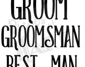 Groom & groomsmen iron on vinyl shirt decals