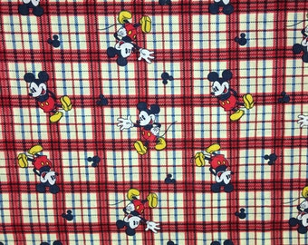 Mickey Mouse Plaid Beige Red Black Apparel Quilting 100% Cotton Fabric FULL Yard