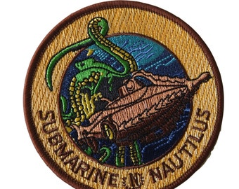 20000 Leagues Under the Sea Movie Submarine Nautilus Embroidered Patch (3.5 inches tall by 3.5 inches wide)
