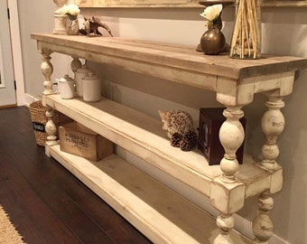 Extra Long Three Shelf French Country Console/Buffet