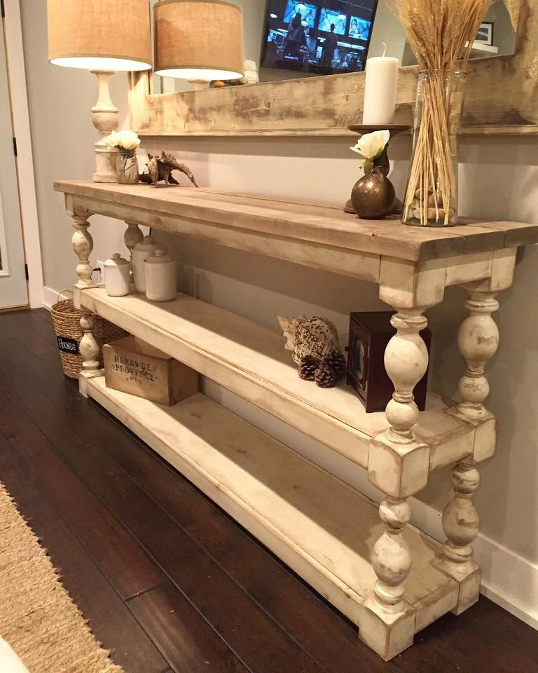 Extra long three shelf french country console buffet for French country shelves