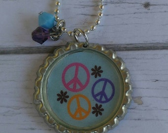 Girls Sports Jewelry// Bottlecap Necklace// Peace Jewelry// Peace Sign// Peace Gift// Peace Party Favor