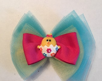 Tulle Easter Chick Bow