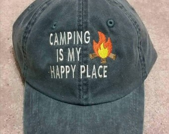 Camping Is My Happy Place Baseball Hat