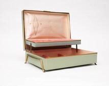 Mid Century Footed Jewelry box - Pink Velvet Lining - Olive Green, Gold Diamond Pattern - 50s - Storage Box - Organizer  - Eames Era