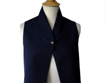 Navy blue vest sleeveless striped Bonnie