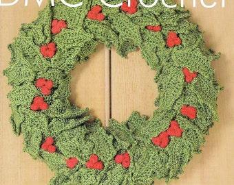 Christmas Festive Holly Garland - Wreath Crochet Pattern only Petra Yarn
