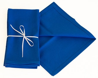 Set of Four Royal Blue Cotton Napkins, 18x18 Inch Royal Blue Napkin Set with Mitered Corners.