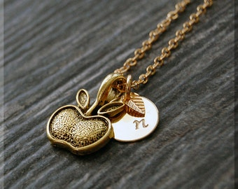 Gold Apple Charm Necklace, Initial Charm Necklace, Personalized, Teacher Charm Necklace, Apple Pendant, Fruit Jewelry, Teacher Gift