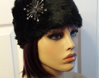 Russian Style Hat Cap Black Faux Fur with Rhinestone Accent