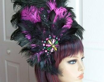 Rhapsody in Fuscia and Black Headdress Headband Feathers Glitz Party Holiday Costume