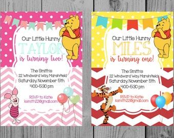 Custom Printable Winnie the Pooh Birthday Invitation Pooh Birthday Invitation Winnie the Pooh Party Winnie the Pooh Invitation