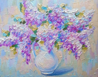 Lilac bouquet in white vase Original oil painting Risch brushstroke canvas Art decor Interior gift for nursery Flowers Still life Impression