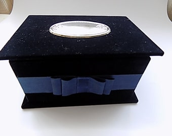 Vintage Blue Velvet jewelry box with silver
