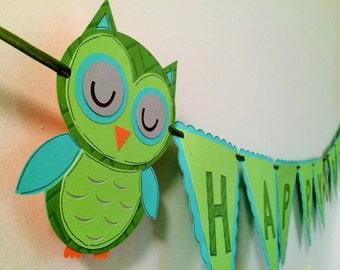 owl birthday banner
