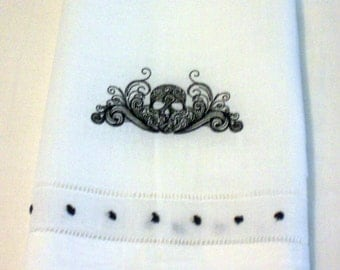 Halloween Towel Embroidered Towel Skull Embroidered Guest Towel Bathroom Decor White Guest Towel Hand Towel Guest