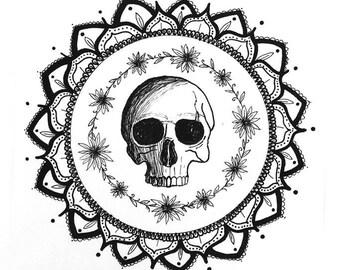 A4 Skull and Daisy mandala illustration.