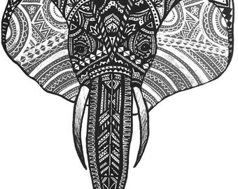 Zentangle Elephant Illustration