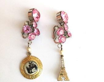 Paris The Eiffel Tower Pink Rhinestone Upcycled Earrings