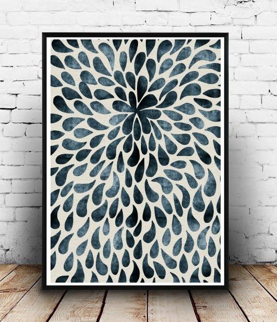 Blue Print Wall Decor : Blue abstract print wall art scandinavian by