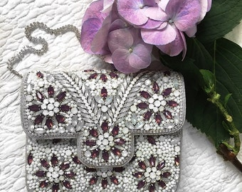 White Embellished wedding clutch evening clutch bridal clutch bridesmaid clutch party clutch prom clutch bridesmaid gift wedding purse gift