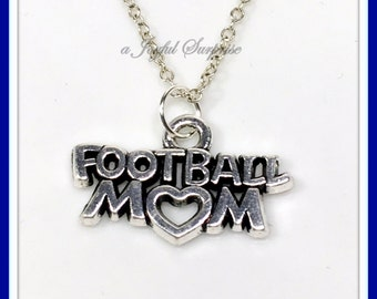 Football Mom Charm Necklace, Silver Football Mom Necklace, Football mom Gifts, Football Mom Silver Jewelry Mothers day gift