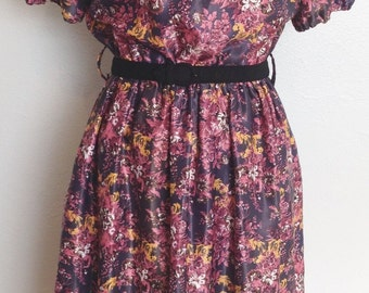 1940's style Dress with Collar- 1940's dress- 1940's flowered dress