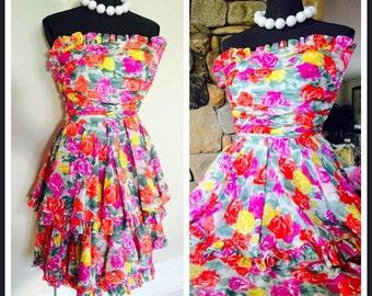 SALE  Ungaro/vintage floral party dress/womens summer Dress/flower dress/1980's chic/spring dress/strapless dress/designer party dress