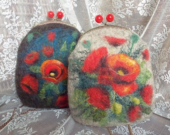 "Felted wool bag-Felted wool purse-Felt bag-Felted purse-Felt handbag-OOAK bag ""Poppies on a light background"""
