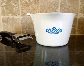 Vintage Corning Ware Blue Cornflower 1 Quart P-55-B Saucemaker with P-series Black and Chrome Detachable Handle