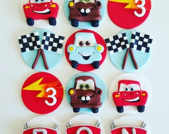 12 x   fondant cars cupcake Toppers