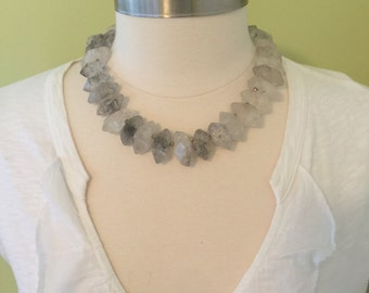 "Handmade rough cut 6 point quartz crystal and gold faceted bead choker necklace. 20"" Long."