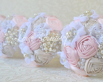 Country Bridesmaids Brooch Bouquet, Dusty Rose Wedding Brooch Bouquet, Rustic Bouquet, Fabric Flowers bouquet, Shabby Chic Bouquet