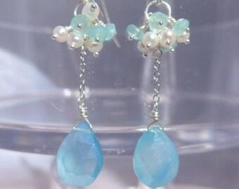 Chalcedony Earrings, Chalcedony Pearl Earrings, Chalcedony Cluster Earrings Earrings, Chalcedony Dangling, 1030