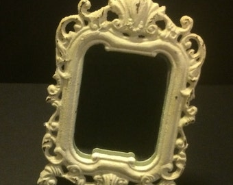 "Vintage Mirror Cast Iron Shabby Chic 8"" X 5 3/4"""