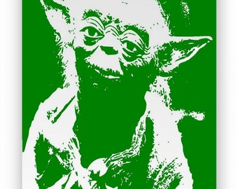 "Star Wars ""Yoda"". Mirror hand engraved, sandblasted and coloured green spray."