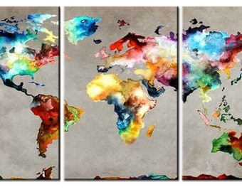 Amazing World map 3 panel Canvas, Wall Art ,gift,World Map Canvas, World Map ,Abstract World Map ,3 panel canvas,canvas art,home, decor,
