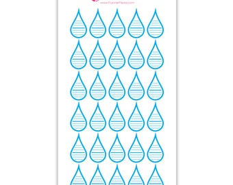 30 Ready to Print Water Intake Stickers / Keep Track of How Much Water You Drink Planner Stickers / Water Tracker