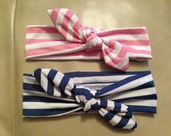 Baby Girls Cotton Stripped Turban Knot Headband - Blue/White