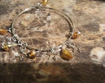 Beautiful stars and jems bangle bracelet