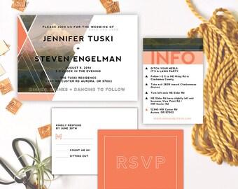 Qty 25 - Modern Geometric Wedding Invitations