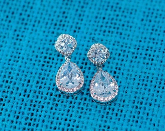 Bridal Earrings, Bridesmaid Earrings, Wedding Jewelry, Bridal Jewelry, Teardrop Earrings, Cubic Zirconia, Wedding Earrings, Dangle Earrings