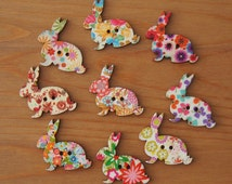 Rabbit Motif Wood Buttons 2 Holes - Multicolor Floral 29mm x 33mm - Children Deco Beads Easter Bunny Scrapbook Sewing Craft DIY