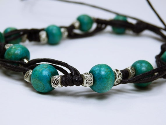 Bracelet, turquoise wooden beads in Tibetan style with metal beads on black fabric Band