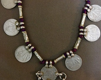 ANTIQUE Indian COIN NECKLACE - handmade tribal