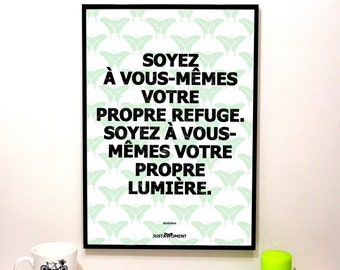 """French Touch Art, inspiring and motivational quote """"Be yourself..."""" - background Green"""