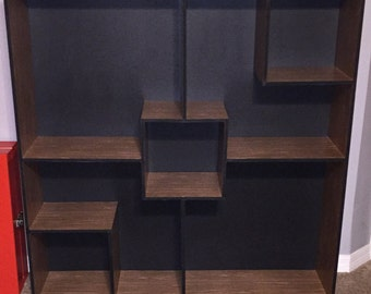 Geometric wooden shelf